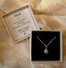 Gift for bridesmaid jewellery 925 Sterling Silver pendant boxed personalized