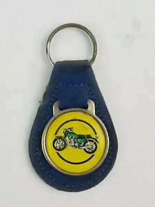 Vintage Motorcycle drawing leather keychain keyring FOB metal back logo Blue