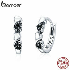 BAMOER S925 sterling silver Stud earrings hearts dating with CZ Women Jewelry