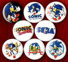 SONIC THE HEDGEHOG 8 NEW 1 inch pins buttons badges sega 1 2 3 nintendo