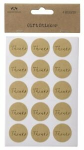 THANKS GIFT GOLD STICKER LABELS SET 4 SHEETS PARTY GIFTS & CRAFTING PRESENT