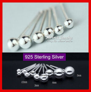 925 Sterling Solid Silver Small Plain Ball Bead Earrings Piercing Girl Lady Stud