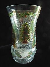 """HOLIDAY SPIRIT 10 1/4"""" Mouth Blown, Hand Painted Crackle Hurricane Lamp"""
