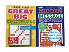 Word Search Find Crossword Puzzle Book Hidden Message Puzzles Books Set of 2 NEW