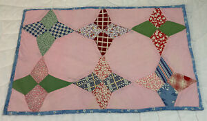 Vintage Patchwork Quilt Table Topper Or Doll Crib Quilt, Stars, Calico Prints