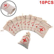 10pcs Hangover Survival Kit Rustic Linen Bag Cotton First Aid Hen Party Favour