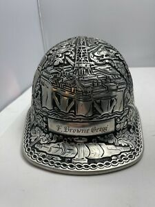 Hand Tooled Aluminum Hard Hat, Oil And Gas, Pipe Fitter, Helicopter, Roughneck