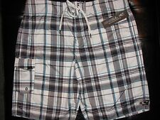 NEW Size 38 O'NEILL ONEILL Swimsuit Board Shorts WHITE GRAY GREY AQUA Plaid $50