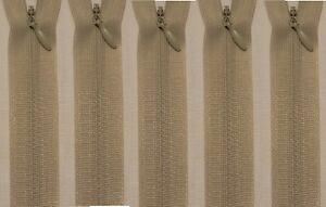 """5 x Professional Invisible Concealed Zips no.3 LINEN GREY(4"""" to22""""/10cm to 55cm)"""