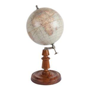 "Weber Costello & Co. World Globe 1921 Wooden Stand 12"" Tabletop Desk Decor"