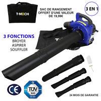 Aspirateur Souffleur Broyeur Feuilles Moteur Essence Jardin 26cc 45L 750W 3en1