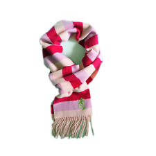 PRINGLE 100% LAMBSWOOL women's winter tassels warm scarf red pink check P610247