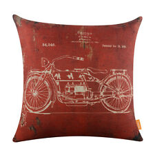 45*45cm Retro Motorcycle Design Engine Linen Cushion Cover Pillow Case Red Store