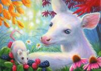ACEO WHITE FAWN RARE DEER BLUE EYES RASPBERRIES ECHINACEA MOUSE GARDEN PAINTING