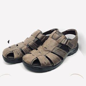 ECCO Men's Size UK 12 (EU 46) Fisherman Sandals Strap Up Brown Leather VGC