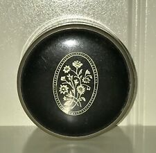 Glass makeup rouge cosmetic jar container with floral metal screw-on lid