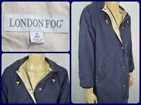 Vtg London Fog Blue Lined Yacht Boating Parka Jacket Mens Med Zip & Snap Front