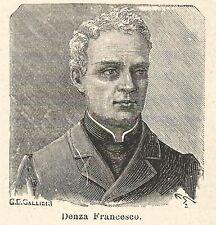 A6715 Denza Francesco - Stampa Antica del 1925 - Xilografia