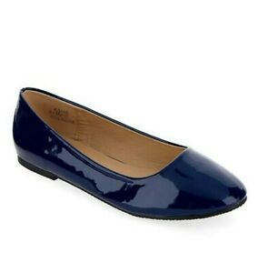 Womens Navy Flat Shoes Wide Fit Size 9 Blue Ballerinas Low Heel Round Toe Pumps