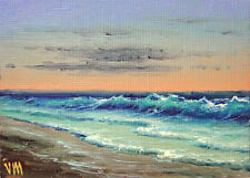 ORIGINAL ACEO OIL PAINTING Impressionism SEASCAPE Pacific Ocean Coastal Scene