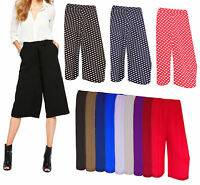 ladies Women 3/4 Length Short Palazzo Trousers causal wide leg culottes trouser