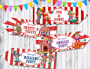 Set of 4 Personalised Circus Clowns Party Decoration Arrows