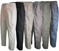 Men Straight Trousers Cargo Combat Cotton Elasticated Zip Fly Casual Pants M-3XL