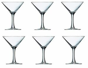 Set Of 6 Luminarc Seattle Martini Glass Clear Cocktail Drinking Glass 225ml 23cl