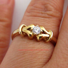 Vintage Genuine Solid 9ct Yellow Gold Engagement Wedding Rings Simulated Diamond