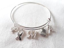 Handmade P.M.A. (Positive Mental Attitude) charm bracelet -  rigid bangle style