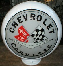 Corvette Gas Pump Globe Sign Gray Black Red Glass Lenses Filling Station Decor C