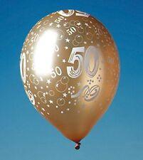 """15 Luftballons Gold M. Druck """"50"""" Hochzeit DEKO Party"""