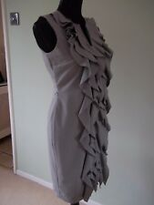 CALVIN KLEIN.... STUNNING LIGHT GREY RUFFLE FRONT DRESS  SIZE UK 8 BNWT