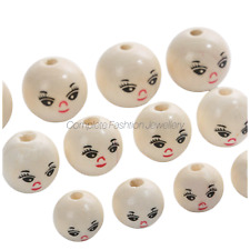 NEW IN 14MM 18MM 20MM SMILEY FACE DOLL ROUND WOODEN BEADS FOR JEWELLERY MAKING