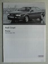 Prospekt / Preisliste Audi Coupe, 8.1993, 10 Seiten