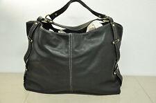 Coldwater Creek Black Pebbled Leather Shoulder Satchel Hobo Handbag