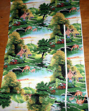 New FOR GOD SO LOVED THE WORLD Cross Religious Scenic Cotton Fabric - bty