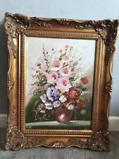 Framed Flowers Painting 1989 - Oil On Canvas - Flowers Vase- Lina Rossi, Signed