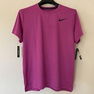 Nike Pro Men L Large Top Shirt Pro Dry Short Sleeve Pink Lightweight New