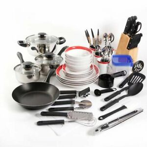 Gibson Home Kitchen In A Box 83-Piece Combo Set, Red