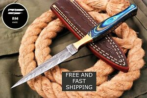 NEW HANDMADE DAMASCUS STEEL DAGGER KNIFE THROWING KNIFE HUNTING KNIFE WITH BRASS