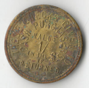 GB WHITEHOUSE BRASS GROCER SHILLING TOKEN C1950       110P      BY COINMOUNTAIN