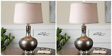 TWO NEW SILVER BRONZE MERCURY GLASS TABLE LAMP LINEN SHADE LIGHT CRYSTAL ACCENTS