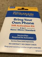 Walmart Family Mobile Sim Card 3/1 Save Money Bring Your Own Phone IPhone to new