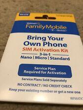 Walmart Family Mobile Starter Kit Nano Sim Card 3/1 Bring Your Own Phone New