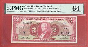 Costa Rica 2 Colones 1947-49 PICK# 203b PMG: 64 UNC. (#2601)