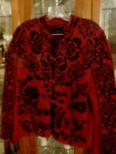 Dakota Bolivian Alpaca Cardigan Sweater Dark Red Black Elegant Closures L EUC