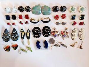 Vintage Mod Gold Tone Enamel Cloisonne+ Pierced Earrings LOT FG Monet Royal+