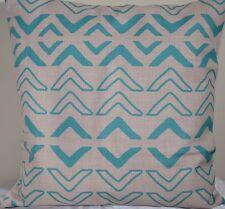 Aqua Green Geometric AU STOCK Cushion Cover Quality Cotton Linen Sofa 45cm
