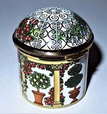STAFFORDSHIRE ENAMELS BOX - DOMED GARDEN GAZEBO - POTTED PLANTS & FLOWERS